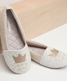 Glitter crown slippers - OYSHO