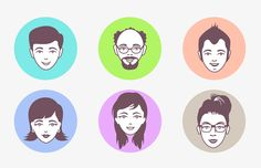 Male and Female #Avatar #Vector Faces, #Character, #Face, #Free, #Graphic #Design, #Illustration, #PNG, #PSD, #Resource, #Vector