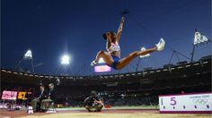 Eloyse Lesueur of France competes in the women's Long Jump final on Day 12 of the London 2012 Olympic Games.