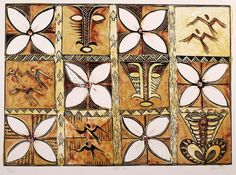 This 1992 lithograph is by Fatu Feu'u, who was born on the island of Savai'i and came to New Zealand to study art. His work has given fresh meaning to traditional Samoan motifs. In 'Tapa'au', which is the Samoan word for a woven coconut mat, the . Tapas, Auckland Art Gallery, Polynesian Art, Nz Art, Tiki Party, Kiwiana, Art Studies, Traditional Art, American
