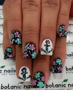 Flower with Sailor Theme Nail Design