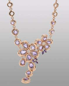 The Roberto Coin - Spring Necklace in 18K Rose Gold with amethyst and diamonds.