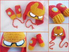 Iron Man Set: Hat + Mittens by argentinian-queen… on – Mundo de ganchillo Crochet Cap, Crochet Beanie, Cute Crochet, Crochet Crafts, Yarn Crafts, Crochet Projects, Knitted Hats, Iron Man, Hats For Men