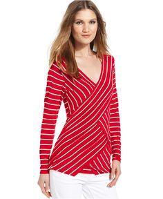 Vince Camuto Top, Long-Sleeve Tiered Striped - Tops - Women - Macys