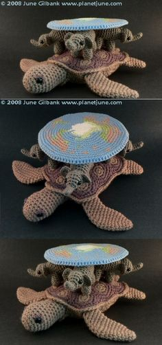 """By June Gilbank, """"PlanetJune"""" - Crocheted tribute to Terry Pratchett's Discworld, """"a large disc resting on the backs of four giant elephants, all supported by the giant turtle Great A'Tuin as it swims its way through space""""."""