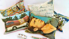 Make Vintage Postcard Pillows! #MarkMontano #MakeYourMark #Vintage #FairfieldWorld #Pillows #HomeDecor