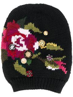 Dolce & Gabbana шапка-бини с цветочной вышивкой