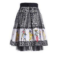 Yeni 2015 yaz kadın marka vintage moda desenler baskı payetli tropikal dans insanlar etek örgü patchwork balo etekler