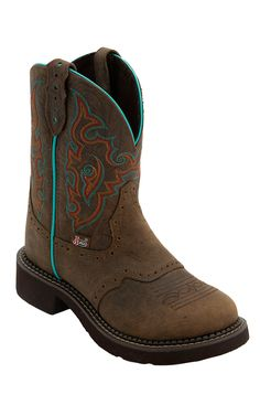 Justin® Gypsy™ Women's Barnwood Brown w/ Turquoise Round Toe Western Boots   Cavender's Boot City