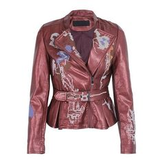 bc0197ab038ec Embroidered Faux Leather Fashion Jacket for Women
