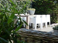 Houten Tafel   Witte Stoelen   Groene 'Muren' van Hedera en Klimhortensia