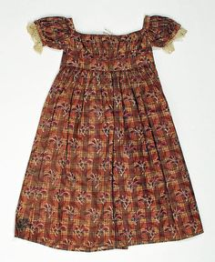 Dress,  1822–25 Culture: American Medium: cotton Dimensions: Length (skirt only): 19 1/2 in. (49.5 cm)