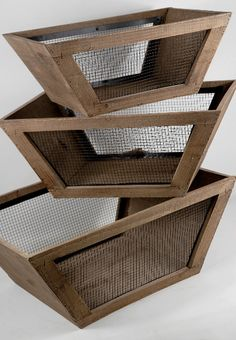 wood and wire baskets