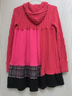 Hot Pink Sweater Hoodie Upcycled Sweater Patchwork Sweater