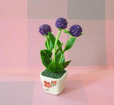 Globe Amaranth Flower Pot Artificial H10 5 Cm Dollhouse Garden Polymer