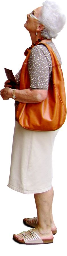 old woman looking up at something, with a large orange handbag