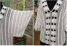 Afbeeldingsresultaat voor blusas a crochet manga murcielago con patrones Gilet Crochet, Crochet Shrug Pattern, Crochet Eyes, Crochet Blouse, Crochet Stitches, Crochet Top, Crochet Bodycon Dresses, Crochet Summer Dresses, Black Crochet Dress