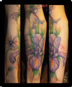 love this iris tattoo by justin nordine. my mom's favorite flower