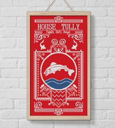 BOGO SALE, Cross stitch pattern, House Tully, Game of Thrones, Cross-stitch PDF, Instant Download, Needlework, Embroidery, Digital #114