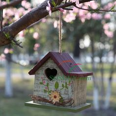 Spring Bird House with Heart Window