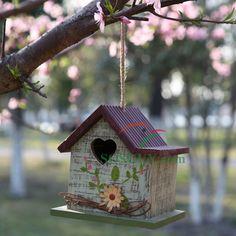 Spring Bird House with Heart Window