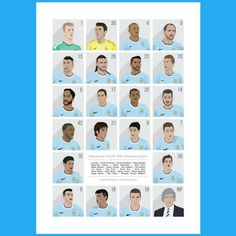 Manchester City champions league squad. Perfect to hang on the wall
