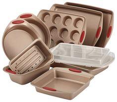 Rachael Ray - Cucina 10-Piece Nonstick Bakeware Set - Latte Brown/Cranberry Red