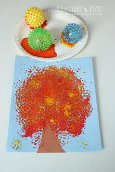 Fall tree craft using sensory balls / jesienne drzewko malowane piłeczkami sensorycznymi - praca plastyczna dla dzieci