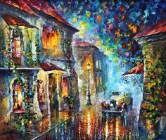 "Greek Night - Palette Knife Living Room Decor Cityscape Oil Painting On Canvas By Leonid Afremov. Size: 40"" X 30"" Inches (100 cm x 75 cm)"