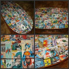 Superman Coffee Table. I wouldn't do this with Superman, though. Maybe X-Men instead, or old Star Wars comics.
