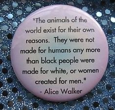 Alice Walker animal rights quote veg pin badge button Why Vegan, Vegan Vegetarian, Vegetarian Memes, Animal Rights Quotes, Vegan Facts, Alice Walker, Vegan Quotes, Vegan Animals, Animals Of The World
