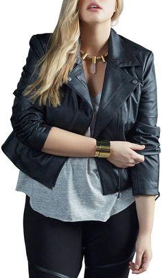 Plus Size Faux-Leather Jacket