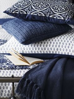 Blue and white cushions and throws from Sainsbury's, Indigo Blues trend, see more on Livingcolourstyle.com