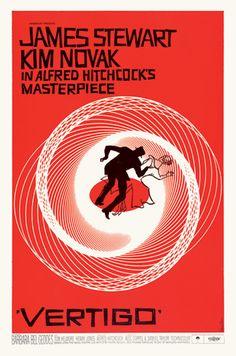 Vertigo (1958), dir. by Alfred Hitchcock. Poster designed by Saul Bass.