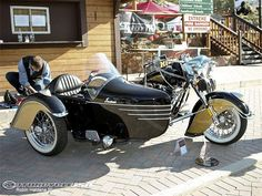 This 2001 Indian Chief motorcycle equipped with an art-deco styled sidecar won top honors in the Open Class of Big Bear Choppers bike show.