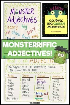 Monster activities for kids - Students will love learning about adjectives with the book Go Away Big Green Monster. Includes anchor charts, writing prompts and craft ideas for the book Go Away Big Green Monster Good Adjectives, Adjectives Activities, Writing Activities, Preschool Activities, Adjective Anchor Chart, Writing Anchor Charts, Monster Activities, Halloween Activities, Halloween Tricks