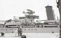 A Hawker Osprey — the naval version of the Hawker Hart — aboard the British light cruiser HMS Enterprise in Haifa. (United States Library of Congress Photograph. Navy Ships, Royal Navy, Battleship, Military History, Military Aircraft, World War Two, British Royals, Wwii, Army