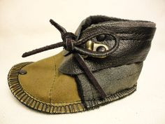 Mukluk style shoes in brown waxed cotton and black leather. High Top Winter Punk Baby Booties