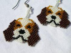 Cutest Little Beagle Puppy Beaded Dangle Earrings