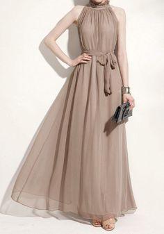Glam Chiffon Maxi Dress - Khaki I know it's not chocolate brown. It is pretty, fall like & $33 :)