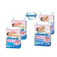 2 PACKAGE  Moony  Nappies  Whole Sale sizes L and M only