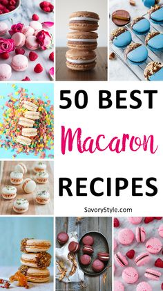 50 Best Macaron Recipes - these gorgeous petite little cookies are delightful and delicious and super popular right now! While they do take a little skill, it's definitely worth working your way through this roundup of the best recipes for macarons! French Macaroon Recipes, French Macaroons, How To Make Macaroons, Gourmet Recipes, Sweet Recipes, Dessert Recipes, Gourmet Foods, Cookie Recipes, Best Macaron Recipe