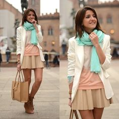 love love the colors. So feminin style. Looks Style, Style Me, Mint Scarf, Boho Chic, Zara, Classy And Fabulous, Dress Me Up, Pulls, Passion For Fashion