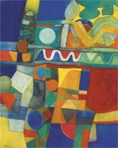 Maurice Esteve (1904-2001) was a French painter & was also active in collage, textile design and murals. He worked as assistant to Robert Delaunay on huge decorative panels for the 1937 Paris International Exhibition. In the 1940s his stylized figure, still-life and landscape compositions with strong colors gradually became completely abstract, with tight-knit interlocking shapes in rich, bold colors.