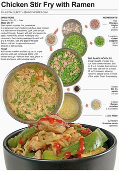Behind the Bites: Chicken Stir Fry with Ramen Vietnamese Recipes, Asian Recipes, Chicken Chunks, Easy Eat, Braised Chicken, Chicken Stir Fry, Pasta, Dinner Is Served, Asian Cooking