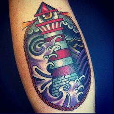tattoo old school / traditional nautic ink - lighthouse with eye