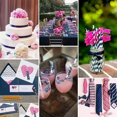 Navy and pink wedding décor- I love the white cake with navy ribbon and pink peonies!