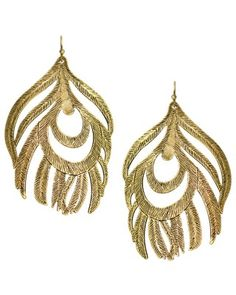 Karina Feather Earrings in Brass - Earrings - Kendra Scott Jewelry