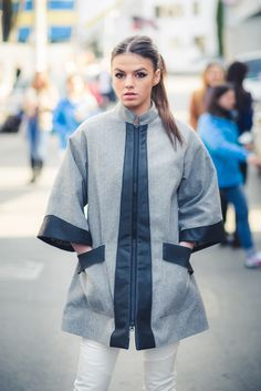 #streetstyle #streetfashion #outfit #spring #summer #fashion #fashionbloggers #clothing #shopping #designers #edgy #neon #inspiration #young #white #coat #grey #spring #pants #trousers #street www.facebook.com/hihirifashion