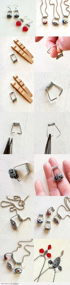 And you thought these were just for kids' projects! Clothes pin necklaces and other jewelry